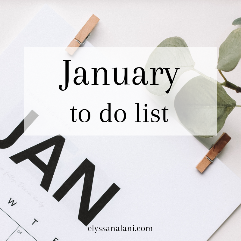 January To Do List
