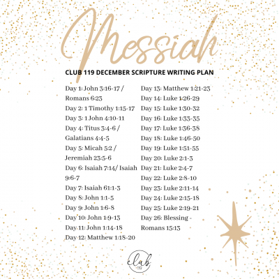 December Scripture Writing Plan – CLUB 119