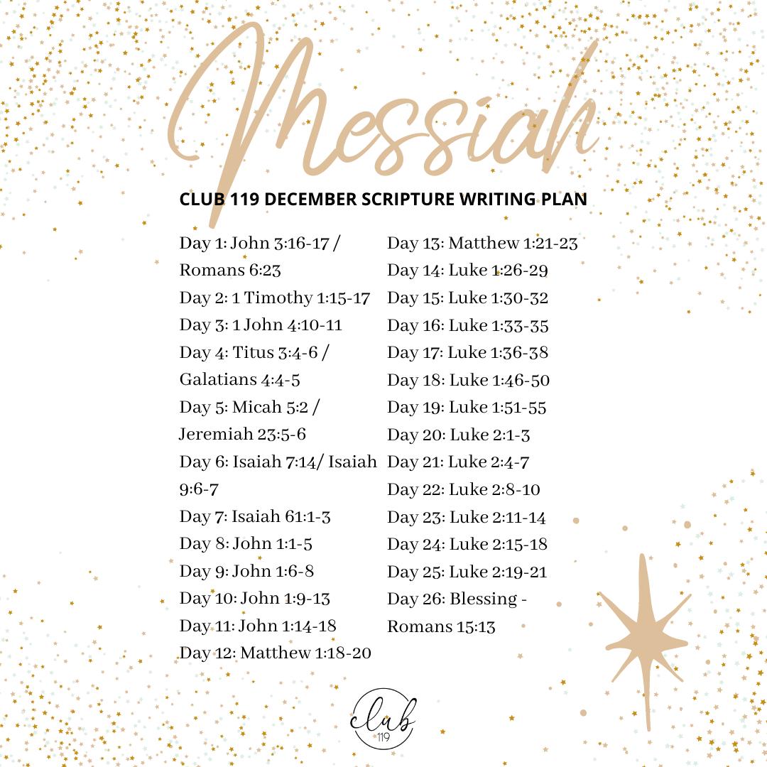 December Scripture Writing Plan – CLUB 119