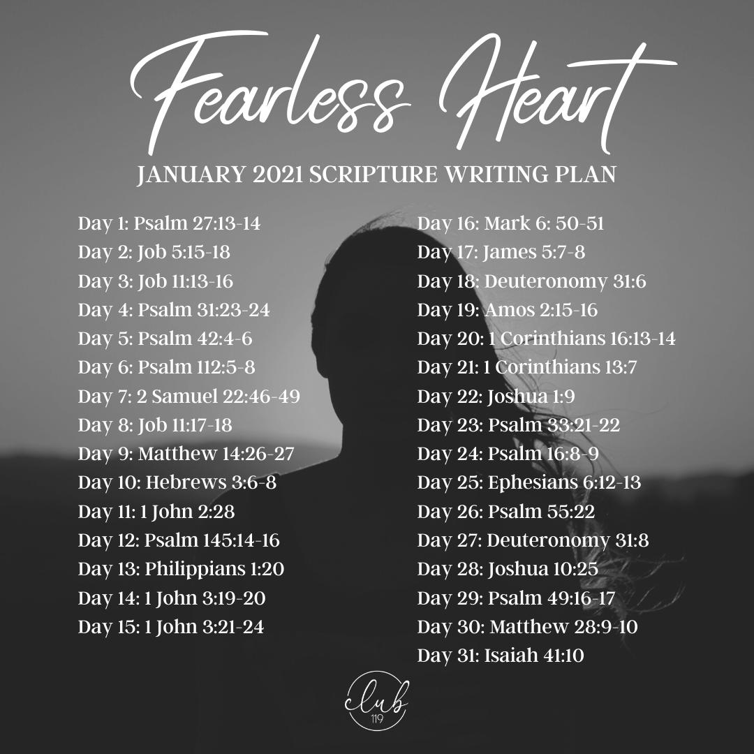 January Scripture Writing Plan | Fearless Heart