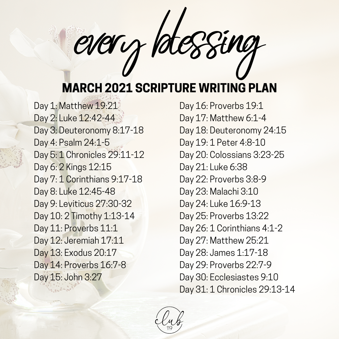 March Scripture Writing Plan | Every Blessing