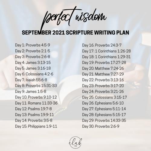 September Scripture Writing Plan |  Perfect Wisdom